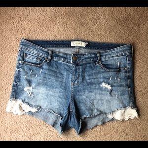 Torrid Distressed Shorts 16 Lace Trim
